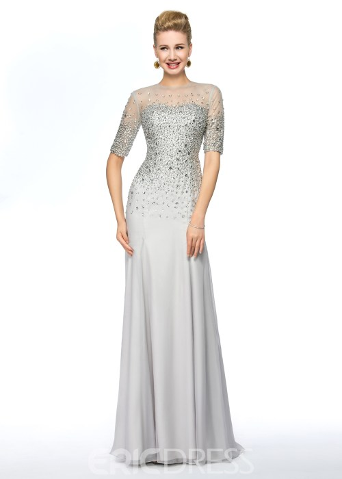 Half Sleeves Beaded Sheath Mother of the Bride Dress