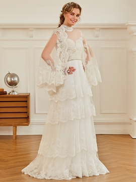 High Neck A Line Appliques Beaded Tulle Wedding Dress