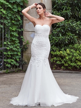 High Quality Appliques Beaded Sweetheart Mermaid Wedding Dress