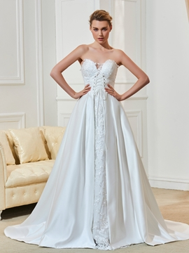 High Quality Appliques Lace Sweetheart A Line Wedding Dress