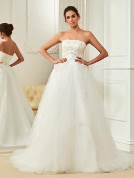 High Quality Appliques Strapless A Line Wedding Dress