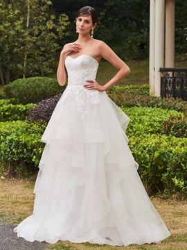 High Quality Appliques Sweetheart A Line Garden Wedding Dress