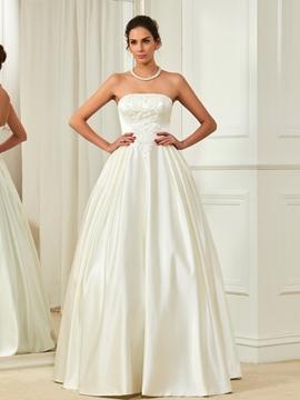 High Quality Beaded Strapless A Line Wedding Dress