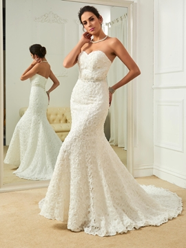 High Quality Sweetheart Beaded Mermaid Lace Wedding Dress