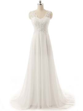 High Quality V Neck Appliques Empire Wedding Dress