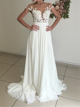 Illusion Neck Lace Chiffon Wedding Dress