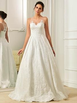 Illusion Neckline A Line Lace Wedding Dress