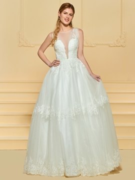 Illusion Neckline A Line Tulle Wedding Dress