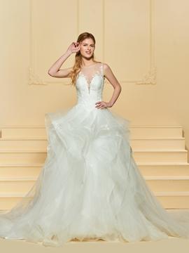 Illusion Neckline Ball Gown Tulle Wedding Dress