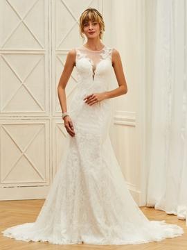 Illusion Neckline Lace Mermaid Button Wedding Dress