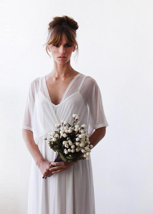 Ivory sheer chiffon batwing sleeve bridal dress 1027