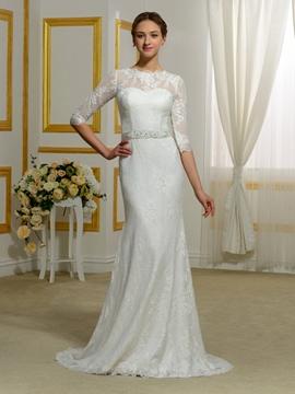 Jewel Half Sleeves Lace Sheath Wedding Dress