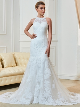 Jewel Sleeves Lace Mermaid Wedding Dress