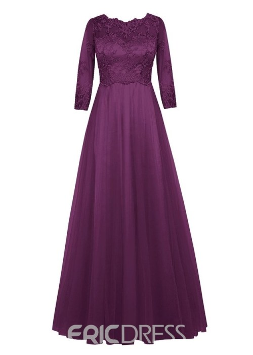 Lace A Line Half Sleeves Jewel Mother of the Bride Dress