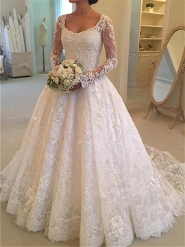 Lace A Line Long Sleeves Wedding Dress