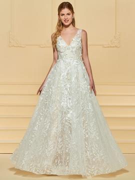 Lace Backless A Line Wedding Dress