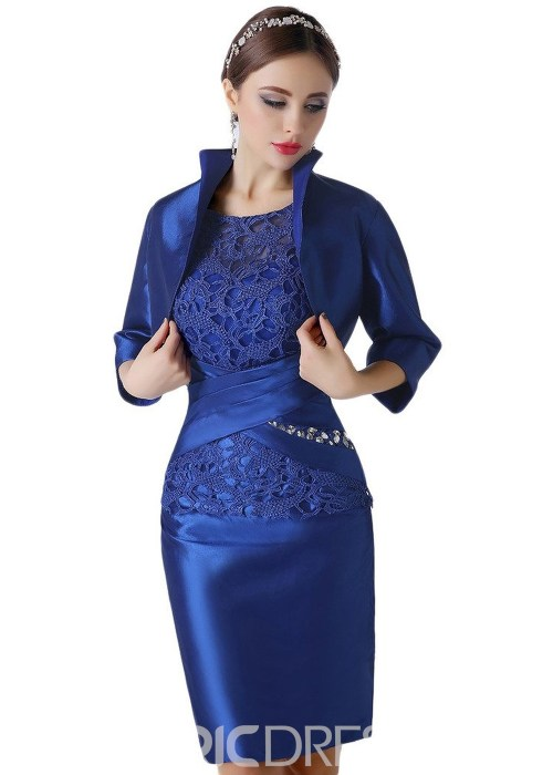 Lace Knee Length Scoop Mother of the Bride Dress With Jacket