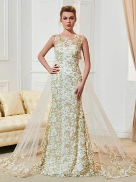 Lace Mermaid Scoop Color Wedding Dress