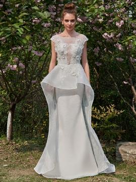 Lace Mermaid Watteau Cap Sleeves Wedding Dress