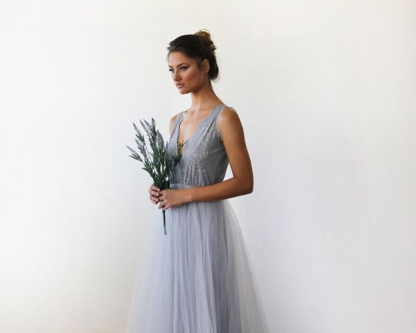 Light Grey Tulle and Lace Maxi Gown 1113