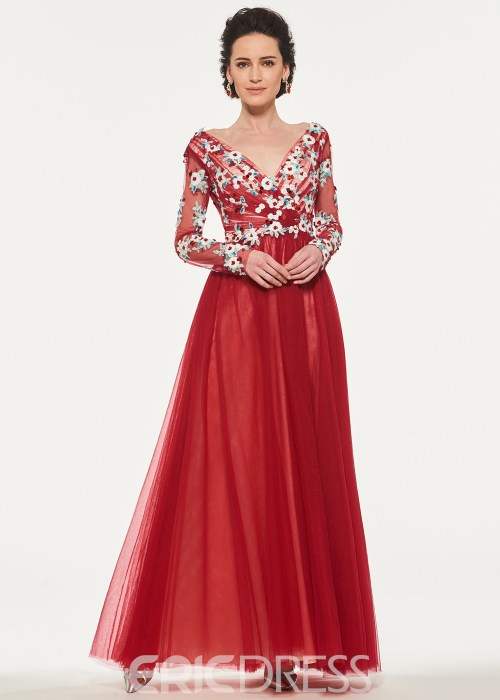Long Sleeves Backless Tulle Mother of the Bride Dress