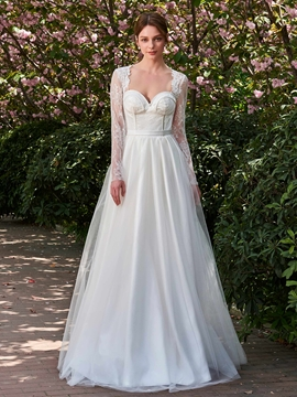 Long Sleeves Lace A Line Wedding Dress