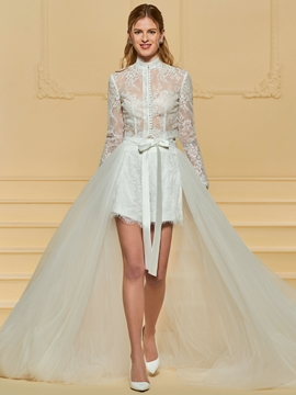 Long Sleeves Lace High Low Wedding Dress