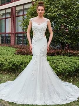 Long Train 3D Floral Appliques Flowers Mermaid Wedding Dress