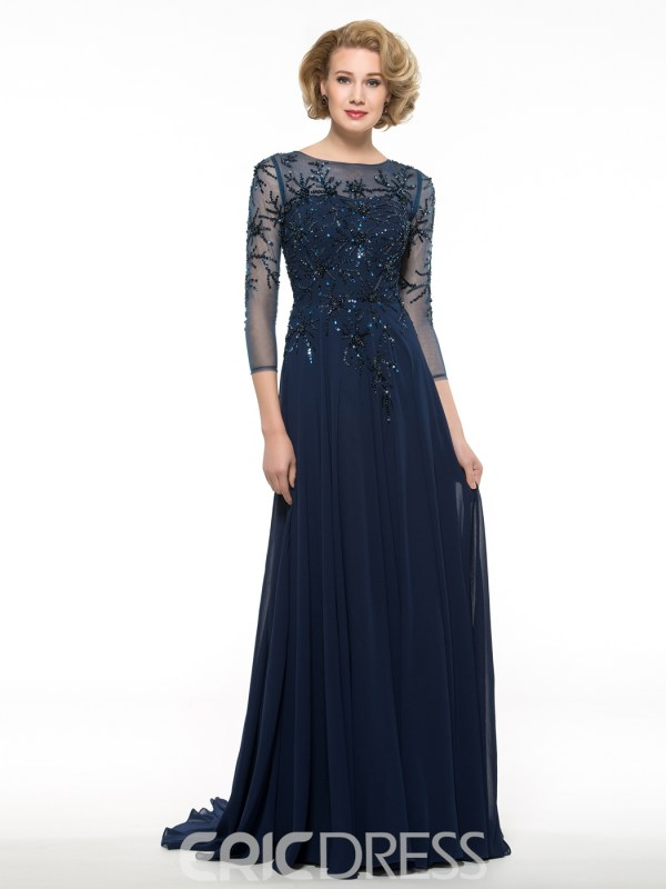 Luxury Beading 3 4 Length Sleeves Long Mother Of The Bride Dress