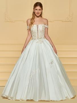 Matte Satin Ball Gown Appliques Wedding Dress