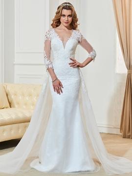Mermaid 3-4 Length Sleeves V Neck Wedding Dress