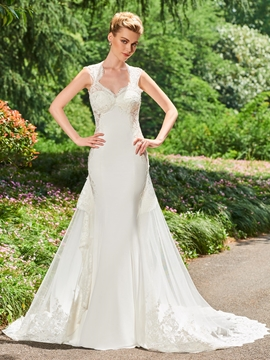 Mermaid Appliques Backless Tulle Wedding Dress
