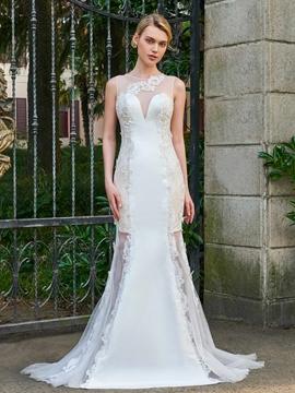Mermaid Appliques Matte Satin Wedding Dress