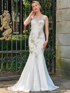 Mermaid Lace Appliques Short Sleeves Wedding Dress