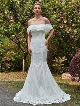 Mermaid Lace Off The Shoulder Wedding Dress