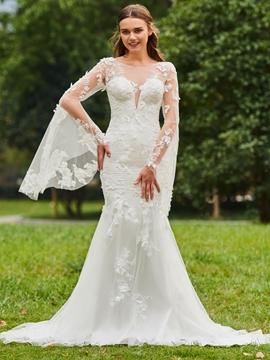 Mermaid Long Sleeves Appliques Tulle Wedding Dress