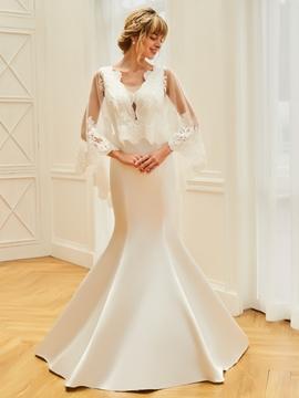 Mermaid Matte Satin Backless Appliques Wedding Dress