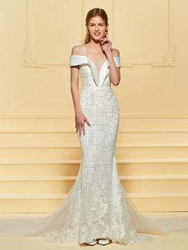 Mermaid Straps Lace Wedding Dress