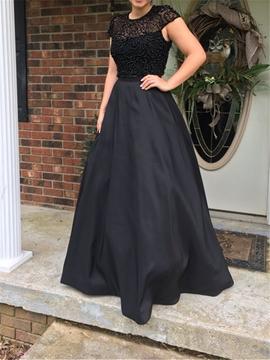 Mesh Scoop Cap Sleeves A-Line Wedding Dress