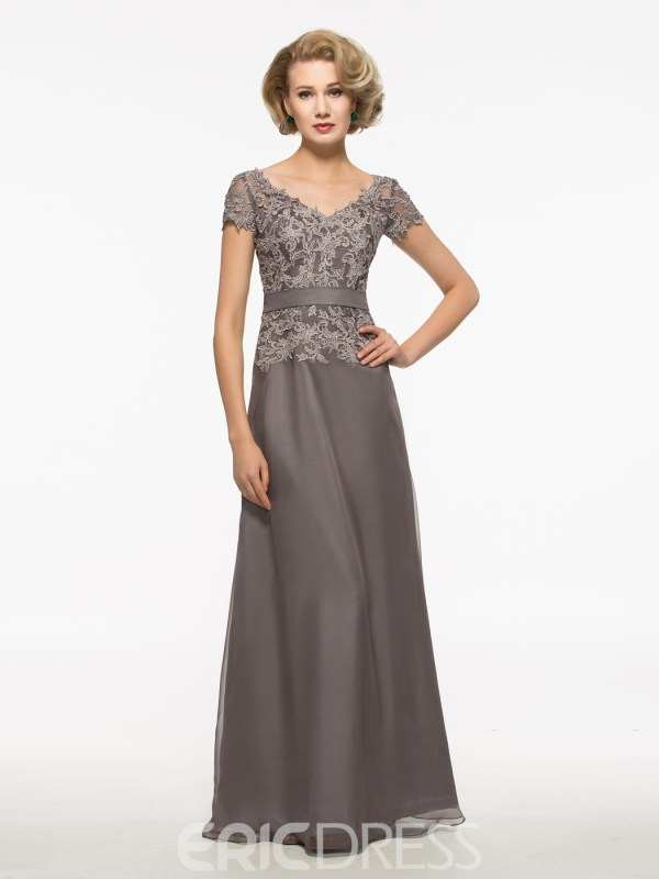 Modest Lace Short Sleeves Long Mother Of The Bride Dress