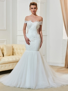 Off The Shoulder Appliques Mermaid Wedding Dress