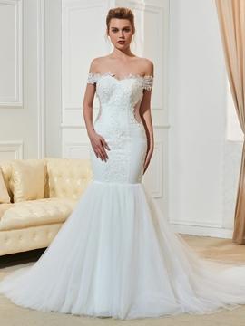 Off The Shoulder Appliques Mermaid Wedding Dress