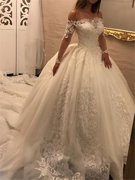 Off The Shoulder Long Sleeves Ball Gown Appliques Wedding Dress