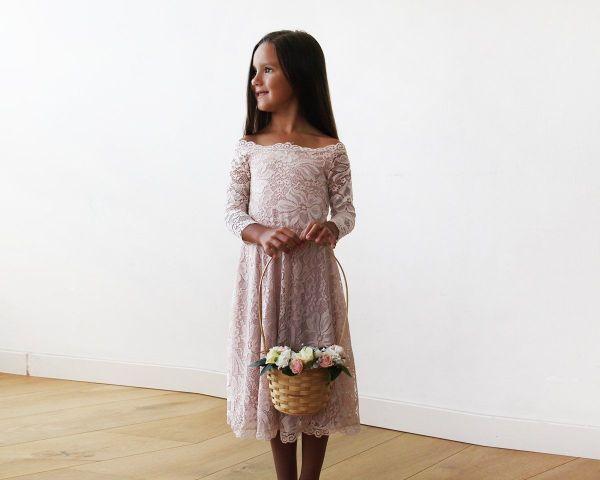 Off-The-Shoulder Pink Lace Midi Girls Dress 5042