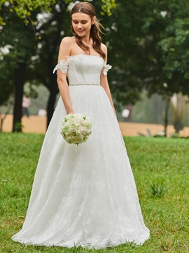 Off the Shoulder A Line Lace Garden Wedding Dress