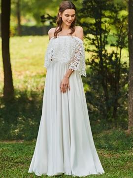 Off the Shoulder A Line Lace Wedding Dress