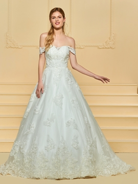 Off the Shoulder Ball Gown Tulle Wedding Dress