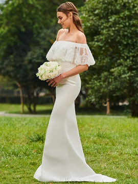 Off the Shoulder Mermaid Matte Satin Wedding Dress