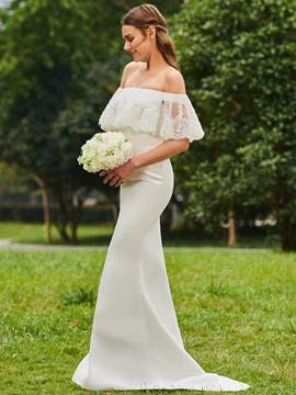 Off the Shoulder Mermaid Matte Satin Wedding Dress