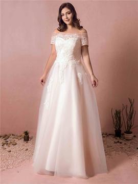 Off the Shoulder Plus Size Wedding Dress